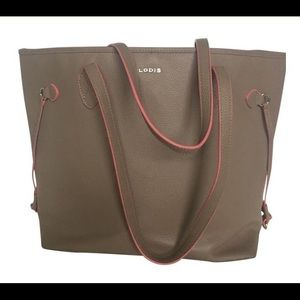 Lodis Tan Leather Tote Trimmed In Coral